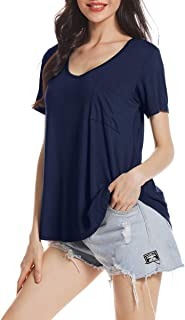 AUPYEO Womens V-Neck Tunic Top Loose Fit T Shirt Casual Basic Blouse Tops with Pocket