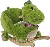 Bieco 74002110 - Plüsch Schaukeltier Dino, grün, Kinder Schaukelstuhl, Sicherheitsgurt und Rückenlehne, Plüschschaukel für Babys und Kleinkinder ca. 65 x 32 x 48 cm
