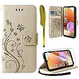 AROYI Funda Compatible con Samsung Galaxy A32 4G y Protector de Pantalla, Relieve Dibujo Carcasa de Tipo Libro Soporte Plegable Ranuras para Tarjetas Magnético Ultra Delgado Carcasa Case, Dorado