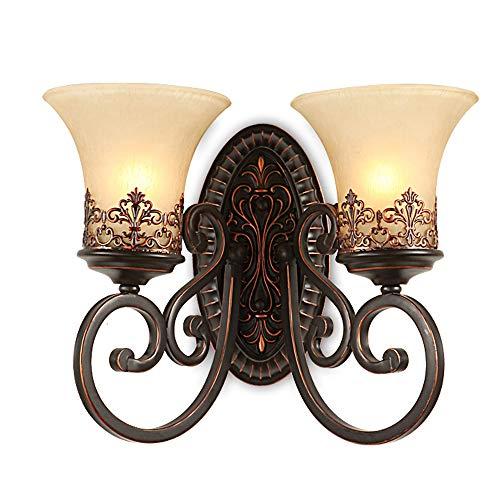 Retro Einfach Kreativ Wandleuchte Vintage Antik Nostalgie innen Design Bronze Wandlampe Rund Glas Lampenschirm Lampenfassung Schön Korridor Treppen Schlafzimmer Gang Hanfseil 2*E27 Ø46CM