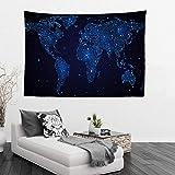 GenericBrands Tapiz del Mapa del Mundo de la Vendimia Asia Europa Fondo de Tela Tapiz Colgante de Pared para Sala de Estar Decoración de Dormitorio