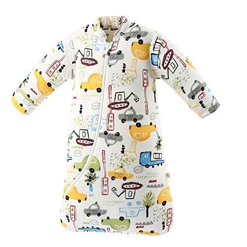Baby Winter schlafsack Kinder schlafsack 3.5 Tog Schlafsaecke aus Bio Baumwolle Verschiedene Groessen von Geburt bis 4 Jahre alt (S:Höhe 60cm-75cm/3-7Monate, Stadtauto)