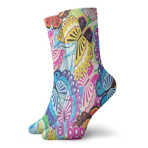 Crew Socks Butterfly Athletic Stylish Cushion Short Boot Stocking 30CM