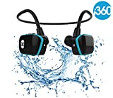 Reproductor MP3 impermeable, de la marca i360, color negro y azul