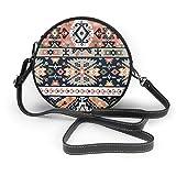 Bolso cruzado redondo para mujer con estampado geométrico abstracto con cremallera y bolso de mano