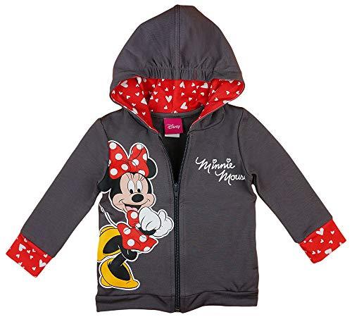 Minnie Mouse Mädchen Kapuzenpullover in Rot und Grau in Größe 80 86 92 98 104 110 116 122 Baumwolle Disney Reißverschluß-Jacke Langarm Pulli Farbe Modell 5, Größe 110