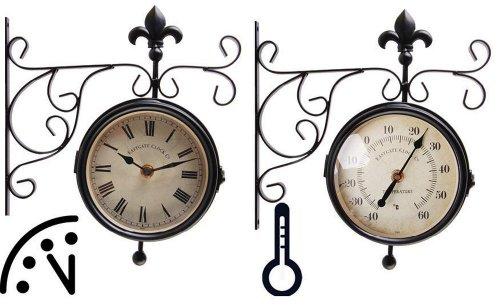 Esschert Design Bahnhofsuhr mit Thermometer, Wanduhr, 25 x 8,7 x 28,5 cm