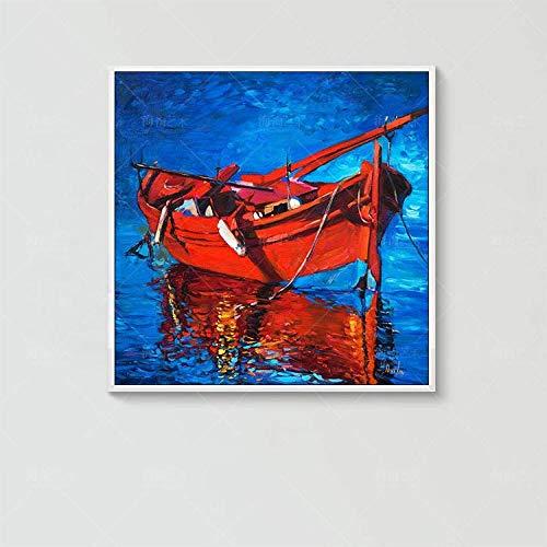 Olieverfschilderij op canvas handgeschilderd, abstract landschap, mooi blauwe nachthemel Ocean Red Boat Landschap, Modern Pop Art groot met de hand geschilderd muur kunst schilderij voor thuis woonkamer restaurant decoratie 100×100 cm/40×40 inch