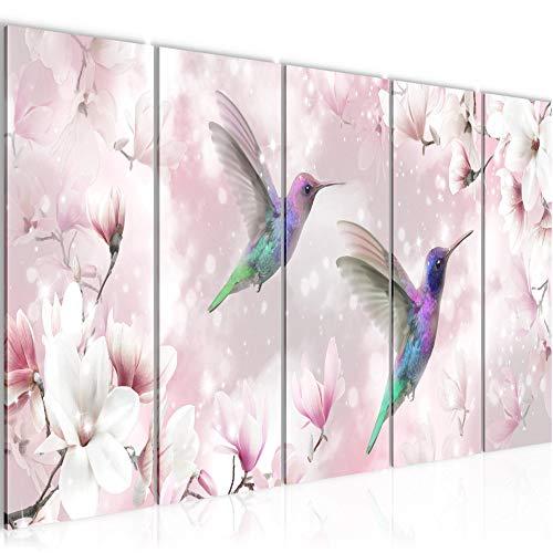 Bilder Blumen Magnolien Wandbild 150 x 60 cm Vlies - Leinwand Bild XXL Format Wandbilder Wohnzimmer Wohnung Deko Kunstdrucke Pink 5 Teilig - MADE IN GERMANY - Fertig zum Aufhängen 015656a