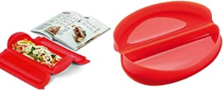 Lékué - Kit Estuche de vapor 1,2 personas + libro de recetas, 650 ml, Silicona + - Recipiente para cocinar tortillas francesas en microondas, color rojo