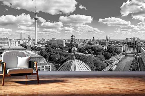 Vlies Tapete XXL Poster Fototapete Berlin Skyline Spree Farbe schwarz weiß, Größe 300 x 150 cm selbstklebend