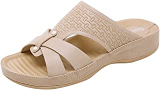 Padaleks Women's Open Toe Sandals Bohemian Comfortable Soft Wedges Flat Slippers Non-Slip Beach Shoes Loafers