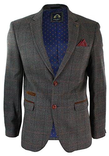 Veste Blazer Hommes Velours Brun Clair fit Vintage Tweed Chevrons Carreaux