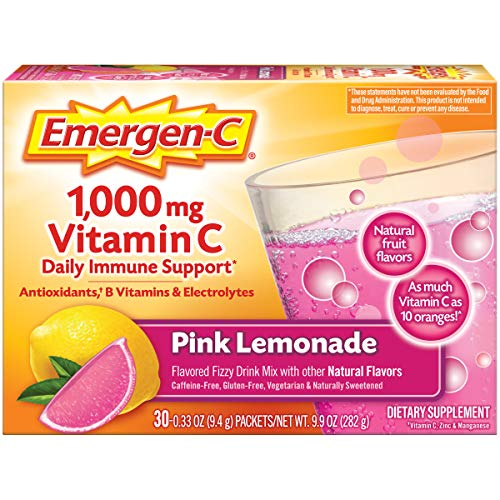 EmergenC Vitamin C 1000mg Powder 30 Count Pink Lemonade Flavor 1 Month Supply With Antioxidants B Vitamins And Electrolytes Dietary Supplement Fizzy Drink Mix Caffeine Free