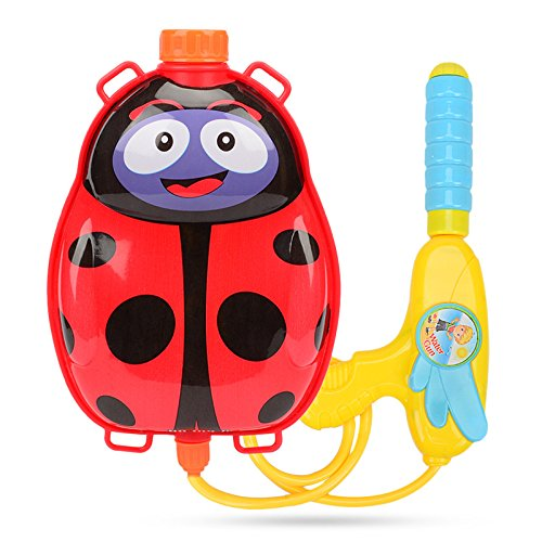Christoy Cartoon Pull Water Gun Backpack Water Blaster for Kids-Water Shooter- Summer Outdoor Toy Pool Beach Water Toy for Kids (Lady Beetle)