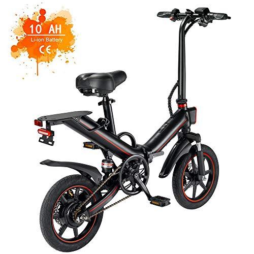 OUXI V5 Bicicletas Electricas,Bicicleta Eléctrica Plegable Adultos Urbana 14' 400W 48V 15Ah máxima 25 km/h Velocidades Bici de Montaña/Carretera/Playa/Nieve para Hombre y Mujer (EU Stock)-Negro