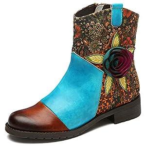 Botines de Cuero para Mujer,gracosy Botas de 2019 Otoño e Invierno Hechas a Mano Bohemio Chelsea Boots Urbana Caminando… | DeHippies.com