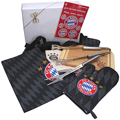 München Bayern Fanartikel Geschenkpaket Grillset 6-TLG. fertig verpackt in weißer Geschenkverpackung