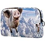 Bolsa Maquillaje Almacenamiento organización Artículos tocador cosméticos Estuche portátil Un Cerdo Volando a través de Las Nubes en el Cielo. para Viajes Aire Libre