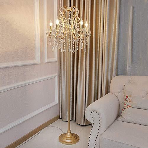 LOKKRG Luz Moderna, lámpara de pie de Cristal E14 * 5 Lámpara de pie 160 cm Lámpara de Sala de Estar de Lujo Lámpara Curva con Interruptor de pie Base de Metal Dorado para Sala de Estar Dormitorio