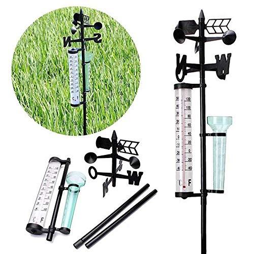 kuaetily Wetterstation DREI-in-eins-Wetterstation Regenmesser, Windrichtungsmesser Regenmesser und Thermometer für Garten, Bauernhof, Feld