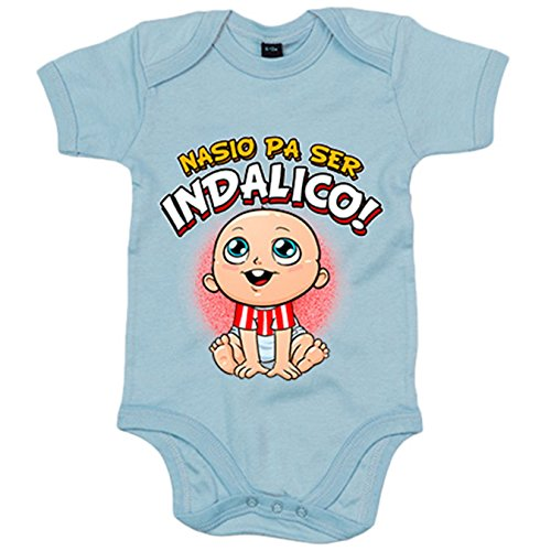 Body bebé nacido para ser Indálico para aficionado al fútbol de Almería - Celeste, Talla única 12 meses