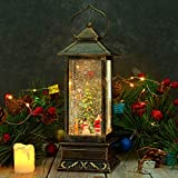 CaiFang Snow Globe Christmas Tree Santa Water Lantern Lighted Christmas Snow Globe with Swirling Glitter Battery Operated &USB Powered