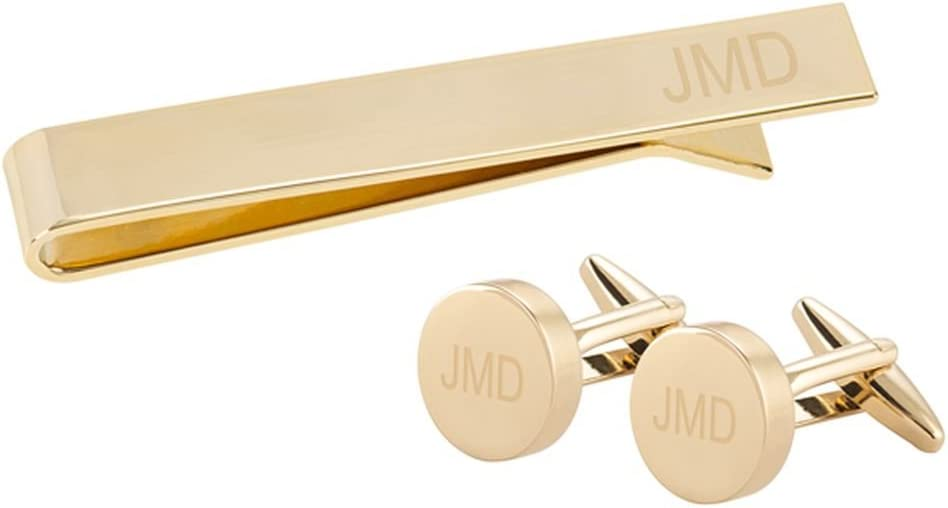 Cathy's Concepts Personalized Gold Round Cuff Link and Tie Clip Set