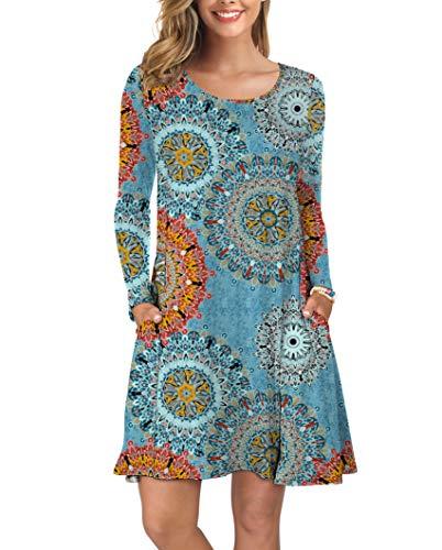 KORSIS Women Long Sleeve Tops T-Shirt Dress Round Neck Casual Loose Dress Flower Mix Blue 3XL