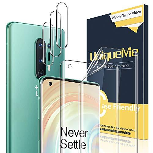 UniqueMe [2 Pack] Protector de Pantalla para Oneplus 8 Pro + [3 Pack] Protector de Lente de Cámara paraOneplus 8 Pro, [Sin Burbujas] HD Film [Flexible]