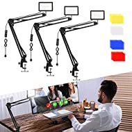 3 Packs 70 LED Video Conference Lighting with C Clamp Arm Stand/Color Filters, Obeamiu 5600K USB Studio Light Kit for Photography, Portrait YouTube, Zoom Call, Live Streaming