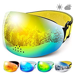 COPOZZ Ski Snowboard Goggles, P1 OTG Snow Sports Skiing Goggles for Men Women Youth, UV Protection Anti Fog Magnetic Snowmobile Goggles