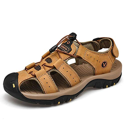 Genuine Leather Men Sandals Summer Casual Shoes Beach Outdoor Casual Sneakers Size 38-48,Yellow,12.5