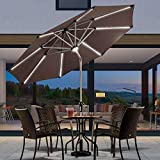 Purple Leaf Solar Powered Lighted LED Umbrella