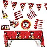 Set de Fiesta de cumpleaños de Mickey Party Supplies Fiesta Decoraciones Incluye Flatwares Tazas Manteles Servilletas Gorro Banderín para Niños