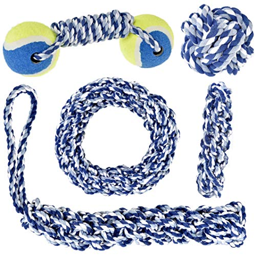 Large Dog Chew Toys Set for Medium to Large Dogs, Extra Tough & Durable Heavy Duty Rope Dog Toy for Puppy to Adult Chewers (5 Pieces)