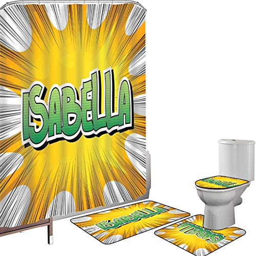 Duschvorhang Set Badezimmerzubehör Teppich Isabella Badematte Contour Teppich Teppichbezug Amerikanischer Geburtsname auf Retro Art-Spaß-Karikatur-Hintergrund-Plakat-Entwurf,Gelbgrün und Weiß, Rutschf