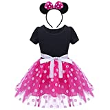 IBTOM CASTLE Girls' Minnie Mouse Halloween Fancy Dress Dance Costume w/Headband Pink 4 Years