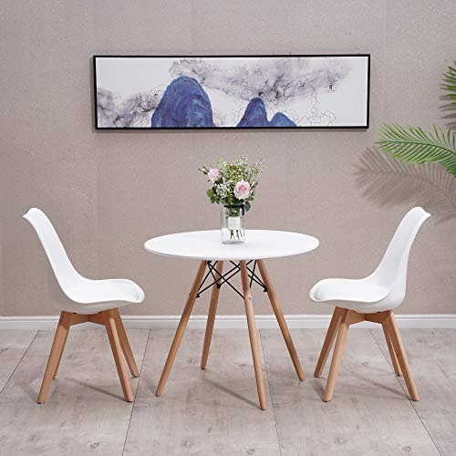 Homcasa Set of 2 Modern Design Dining Chairs, with Cushioned PU Seat and Solid Wood Legs Retro Lorenzo Lounge Chair (White + Table)