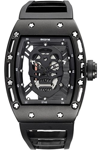 Skone Steampunk Skeleton Pirate Watch Men Skull Hollow Diamond Designer Cool Unique Fashion Style Quartz Wristwatch Silicone Leather Sports