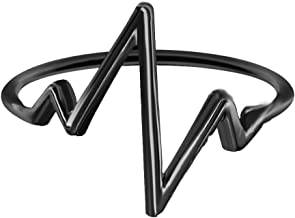 Geometric Wave Love Heartbeat ECG Lifeline Pulse Heartbeat Band Ring for Boy Girls Couple Ring