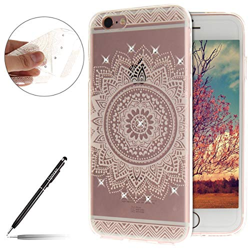 Uposao Compatible avec iPhone 6,Etui iPhone 6S Coque Housse Etui de Protection Transparent Motif Mandala Coque en Silicone Bling Glitter Paillette Strass Brillante de TPU Souple Coque iPhone 6 / 6S