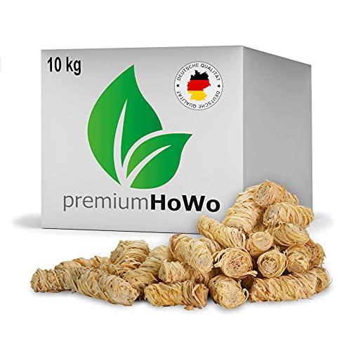premiumHoWo (10 kg) Öko-Anzündwolle direkt vom Hersteller, Holzwolle, zertifizierter Holz-Ursprung, FSC®-zertifiziertes Produkt, pflanzliches Wachs, ökologische Grillanzünder, Kaminanzünder (10kg)