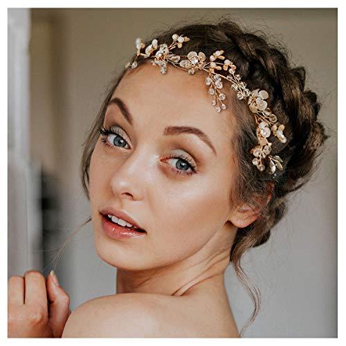 SWEETV Roségold Haarschmuck Hochzeit, Blumen Braut Stirnband Strass Kopfschmuck für die Braut, Brautjungfer