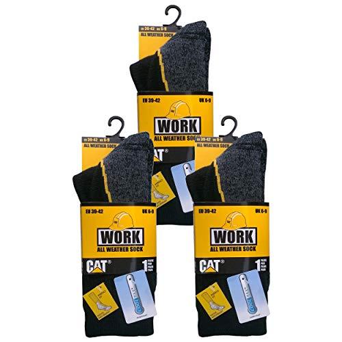 Caterpillar 3 pares de calcetines de trabajo CAT, resistentes, Coolmax, adecuados para...