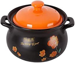 WZWHJ Double Handle Lid Pure Ceramic Tureen Soup with fire Ceramic Round Black Dish Casserole Clay Pot Earthen Pot Ceramic...