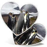 Impresionante 2 pegatinas de corazón de 15 cm – Pingüinos emporador de montaña nevada pingüinos divertidos calcomanías para portátiles, tabletas, equipaje, libros de chatarra, frigorífico, regalo genial #44961