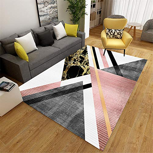 RUGMRZ Children Rug Carpet pink large triangle pinstripe modern style salon rug durable Small Rugs For Living Room Big Carpets For Living Room pink 60X90CM