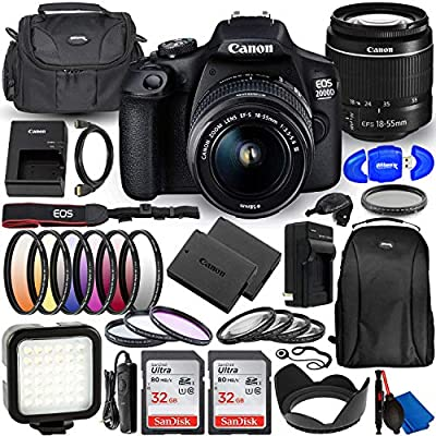 Canon EOS 2000D (Rebel T7) DSLR Camera with EF-S 18-55mm f/3.5-5.6 DC III Lens - Deluxe Bundle Includes: Dual Ultra 32GB (64GB) SD, Extra Battery and Charger, LED Light Kit, Carrying Case and More from Pixel Hub