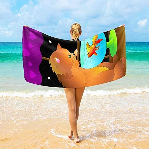BAOYUAN0toalla de Playa Hombre con Luna y Estrellas de pez Toalla de Viaje Ultra Absorbente para Hombres, Mujeres y niños 100*200cm Manta de Picnic Toallas de SPA